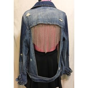 Blank NYC Chain Open Back Denim Jacket Oversized